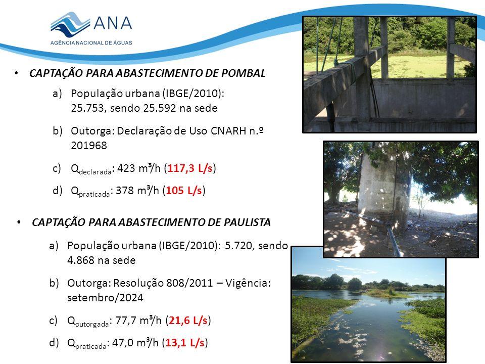 CAPTAÇÃO PARA ABASTECIMENTO DE POMBAL a)População urbana (IBGE/2010): 25.753, sendo 25.592 na sede b)Outorga: Declaração de Uso CNARH n.º 201968 c)Q declarada : 423 m³/h (117,3 L/s) d)Q praticada : 378 m³/h (105 L/s) CAPTAÇÃO PARA ABASTECIMENTO DE PAULISTA a)População urbana (IBGE/2010): 5.720, sendo 4.868 na sede b)Outorga: Resolução 808/2011 – Vigência: setembro/2024 c)Q outorgada : 77,7 m³/h (21,6 L/s) d)Q praticada : 47,0 m³/h (13,1 L/s)