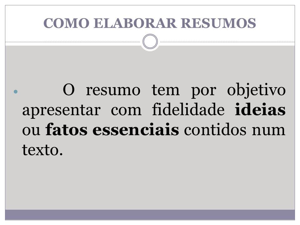 O resumo tem por objetivo apresentar com fidelidade ideias ou fatos essenciais contidos num texto.