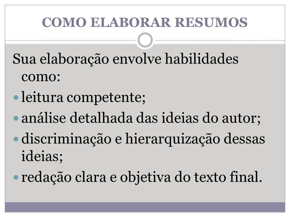 COMO ELABORAR RESUMOS Sua elaboração envolve habilidades como: leitura competente; análise detalhada das ideias do autor; discriminação e hierarquizaç