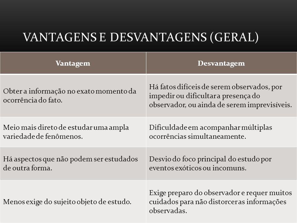 VANTAGENS E DESVANTAGENS (GERAL) VantagemDesvantagem Obter a informação no exato momento da ocorrência do fato.