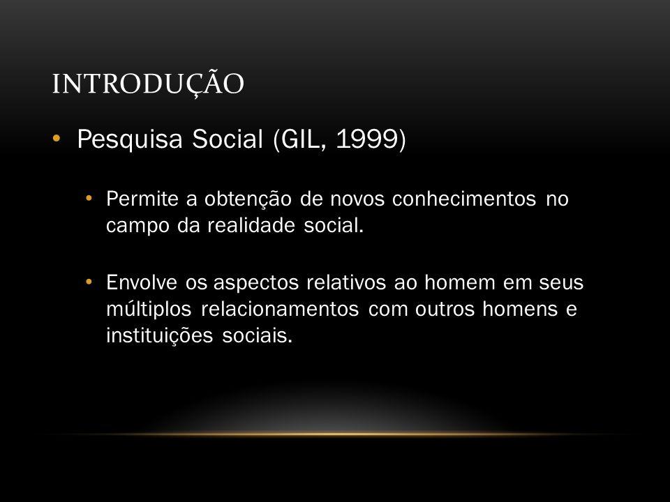 INTRODUÇÃO Pesquisa Social (GIL, 1999) Permite a obtenção de novos conhecimentos no campo da realidade social.