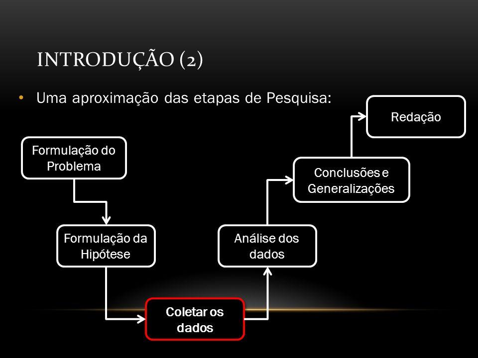 INTRODUÇÃO (2) Uma aproximação das etapas de Pesquisa: Formulação do Problema Formulação da Hipótese Coletar os dados Análise dos dados Conclusões e Generalizações Redação