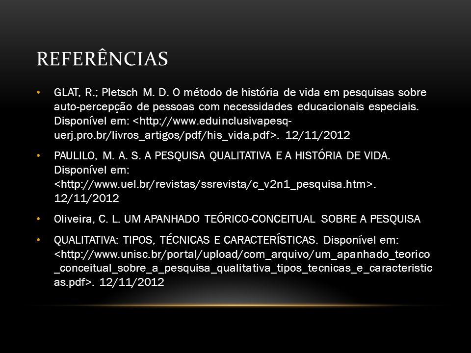 REFERÊNCIAS GLAT, R.; Pletsch M.D.