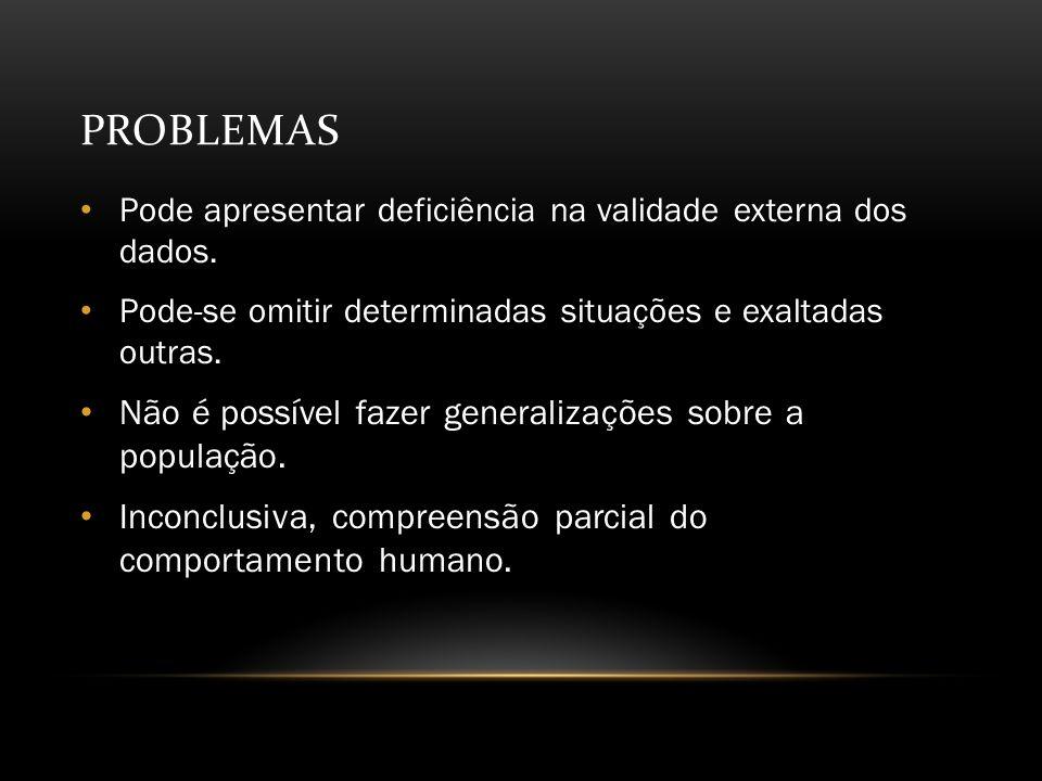 PROBLEMAS Pode apresentar deficiência na validade externa dos dados.