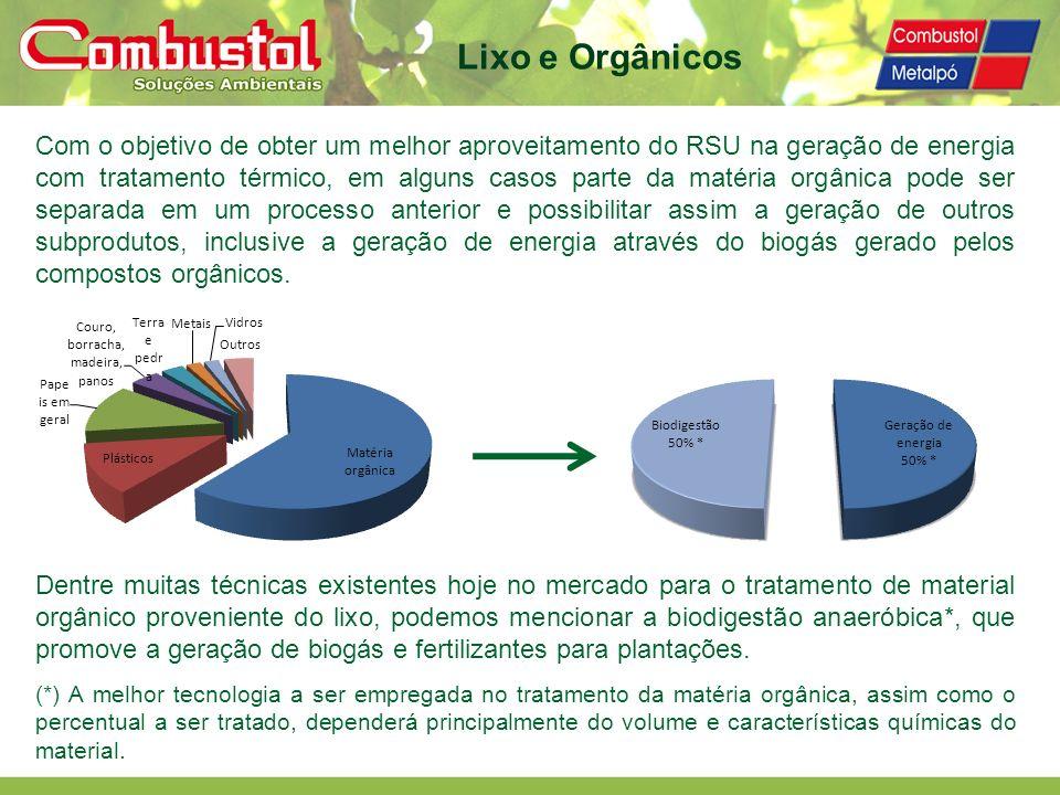 Lixo e Orgânicos Com o objetivo de obter um melhor aproveitamento do RSU na geração de energia com tratamento térmico, em alguns casos parte da matéri