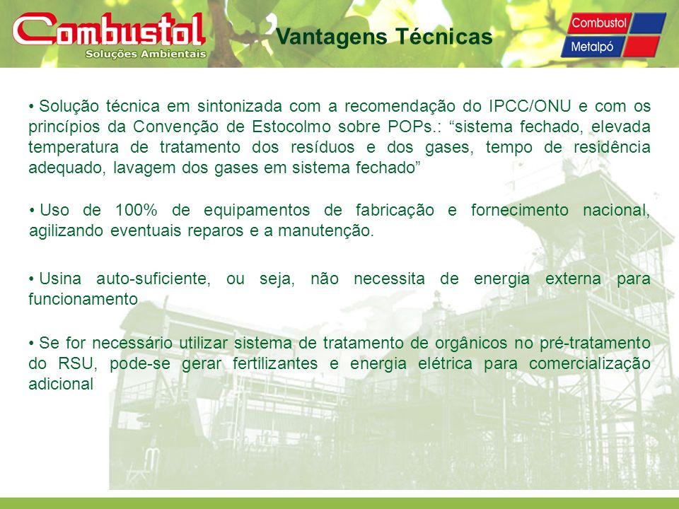 Solução técnica em sintonizada com a recomendação do IPCC/ONU e com os princípios da Convenção de Estocolmo sobre POPs.: sistema fechado, elevada temp