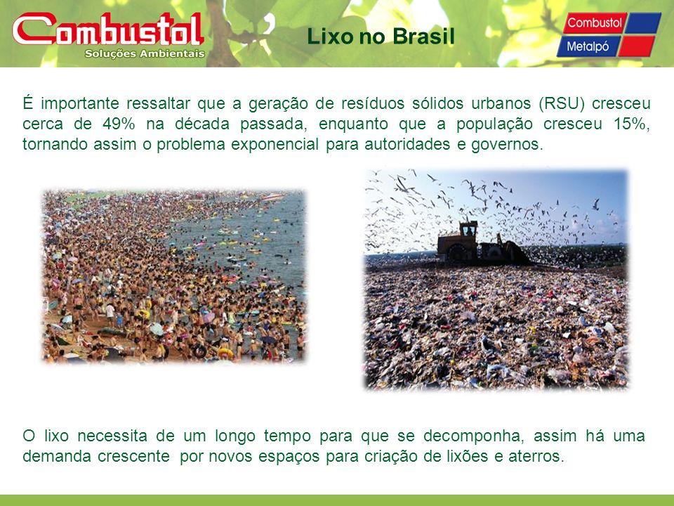 Reciclagem energética: em média 3,3 MW de energia nova gerada e 9 MW de energia conservada (materiais reciclados) a cada 150 ton/dia de RSU Emissão de acordo com normas ambientais – CONAMA 316/2002 e SMA 079 de 04.11.2009 da Secretaria de Estado do Meio Ambiente do Governo do Estado de São Paulo – baseada nas mais recentes normas Européias Lavagem de gases em circuito fechado - não há efluentes líquidos Destruição térmica orgânicos (>900°C) e eventual biodigestão controlada evita a emissão de gases de efeito estufa e dos POPs (Poluentes Orgânicos Persistentes) Redução peso/volume dos RSU em até 90% Vantagens Técnicas Não exige extensas áreas para implantação (18.000 m² para usina de 300 ton/dia)
