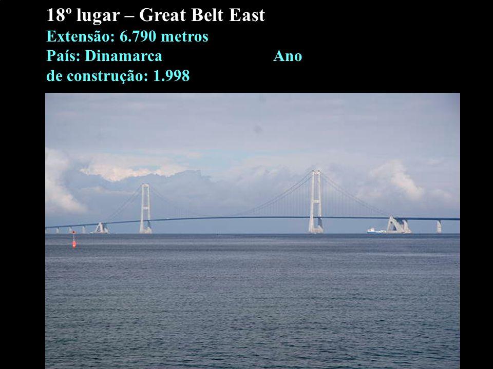 18º lugar – Great Belt East Extensão: 6.790 metros País: Dinamarca Ano de construção: 1.998