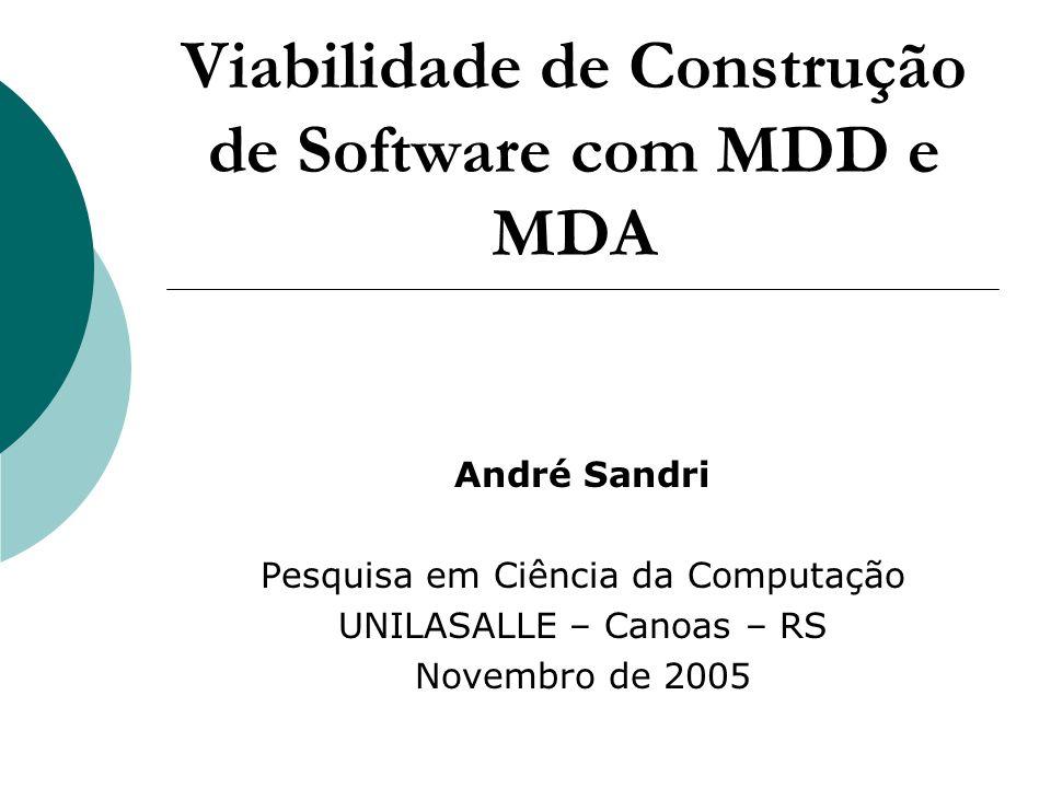 Introdução MDD – Model Driven Development MDA – Model Driven Architecture OMG - Object Management Group Estudo da viabilidade da construção de software com MDD e MDA