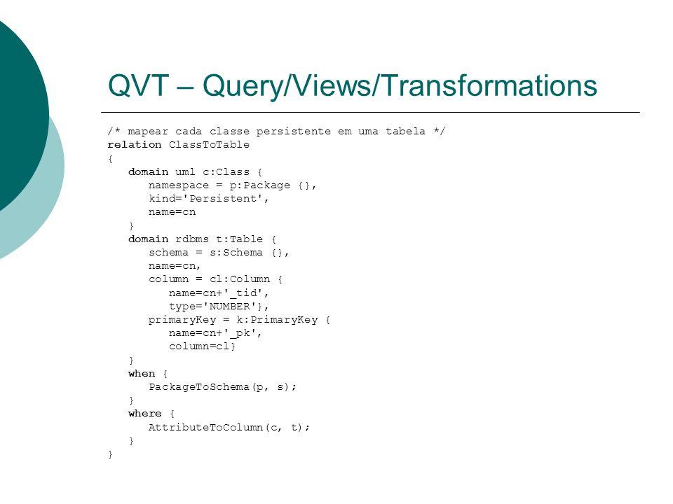 QVT – Query/Views/Transformations /* mapear cada classe persistente em uma tabela */ relation ClassToTable { domain uml c:Class { namespace = p:Packag