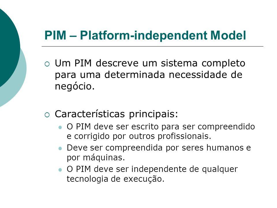 PIM – Platform-independent Model Um PIM descreve um sistema completo para uma determinada necessidade de negócio. Características principais: O PIM de