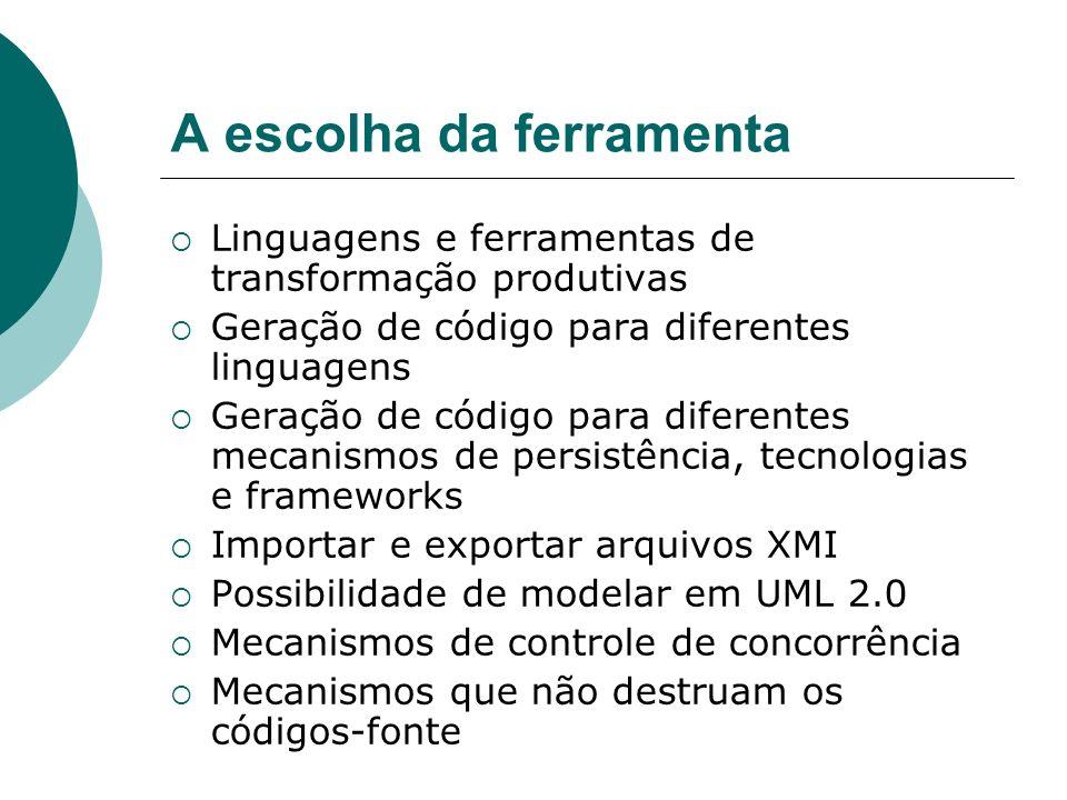 A escolha da ferramenta Linguagens e ferramentas de transformação produtivas Geração de código para diferentes linguagens Geração de código para difer