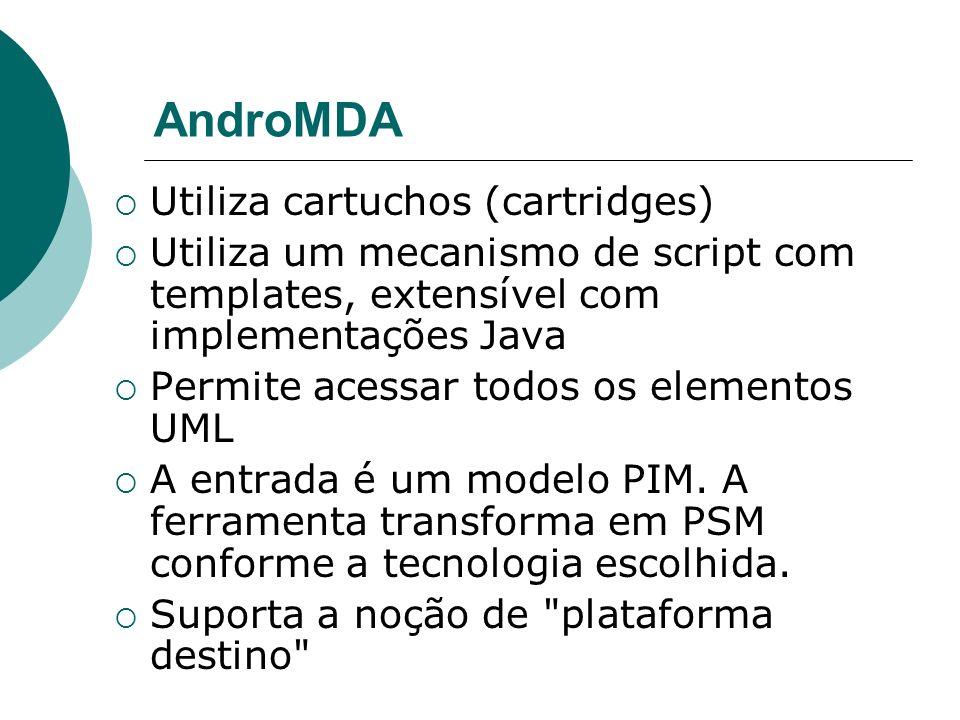 AndroMDA Utiliza cartuchos (cartridges) Utiliza um mecanismo de script com templates, extensível com implementações Java Permite acessar todos os elem