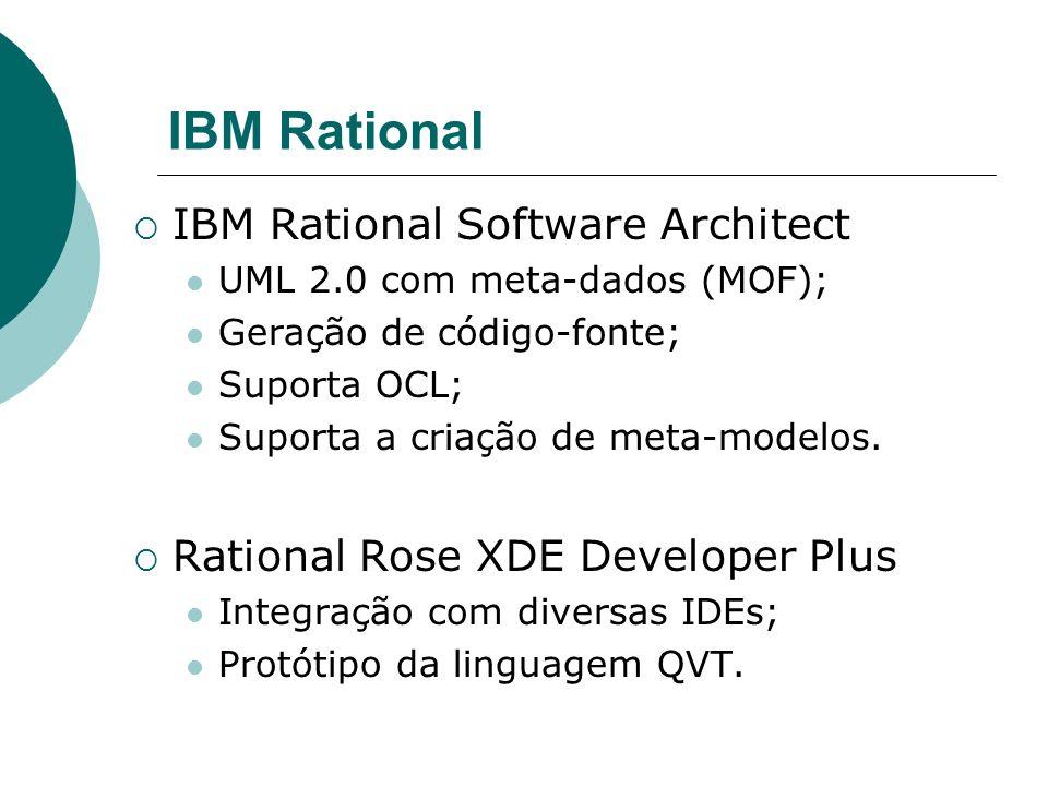 IBM Rational IBM Rational Software Architect UML 2.0 com meta-dados (MOF); Geração de código-fonte; Suporta OCL; Suporta a criação de meta-modelos.