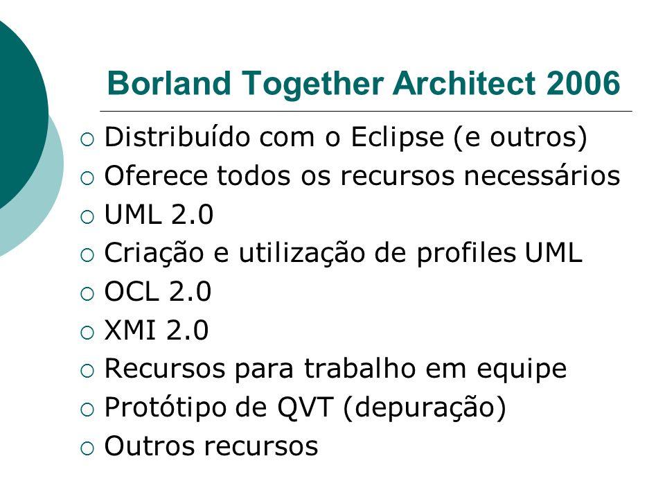 Borland Together Architect 2006 Distribuído com o Eclipse (e outros) Oferece todos os recursos necessários UML 2.0 Criação e utilização de profiles UM