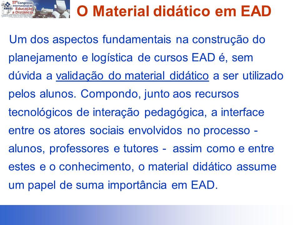 O Material didático em EAD Um dos aspectos fundamentais na construção do planejamento e logística de cursos EAD é, sem dúvida a validação do material didático a ser utilizado pelos alunos.
