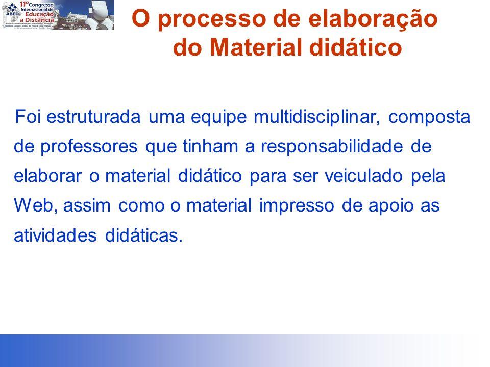 O processo de elaboração do Material didático Foi estruturada uma equipe multidisciplinar, composta de professores que tinham a responsabilidade de el