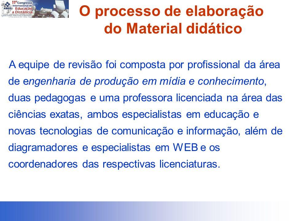 O processo de elaboração do Material didático A equipe de revisão foi composta por profissional da área de engenharia de produção em mídia e conhecime