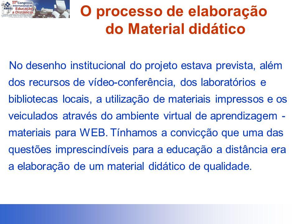 O processo de elaboração do Material didático No desenho institucional do projeto estava prevista, além dos recursos de vídeo-conferência, dos laboratórios e bibliotecas locais, a utilização de materiais impressos e os veiculados através do ambiente virtual de aprendizagem - materiais para WEB.