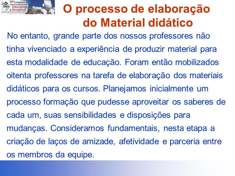 O processo de elaboração do Material didático No entanto, grande parte dos nossos professores não tinha vivenciado a experiência de produzir material para esta modalidade de educação.