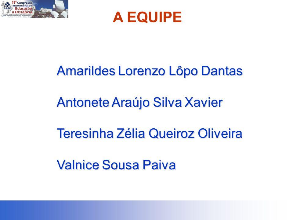 A EQUIPE Amarildes Lorenzo Lôpo Dantas Antonete Araújo Silva Xavier Teresinha Zélia Queiroz Oliveira Valnice Sousa Paiva