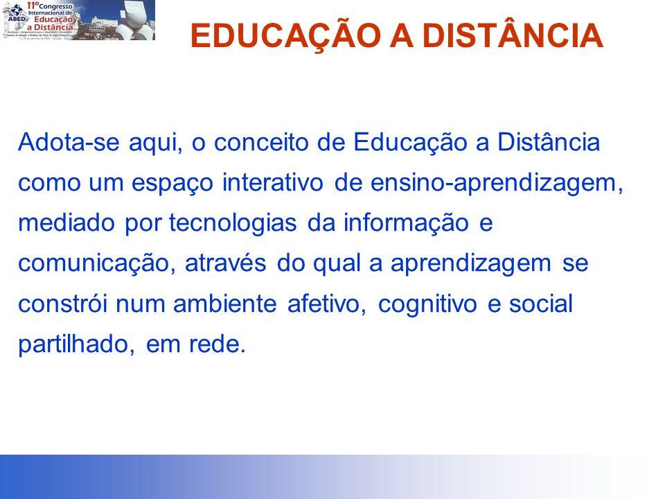 EDUCAÇÃO A DISTÂNCIA Adota-se aqui, o conceito de Educação a Distância como um espaço interativo de ensino-aprendizagem, mediado por tecnologias da informação e comunicação, através do qual a aprendizagem se constrói num ambiente afetivo, cognitivo e social partilhado, em rede.