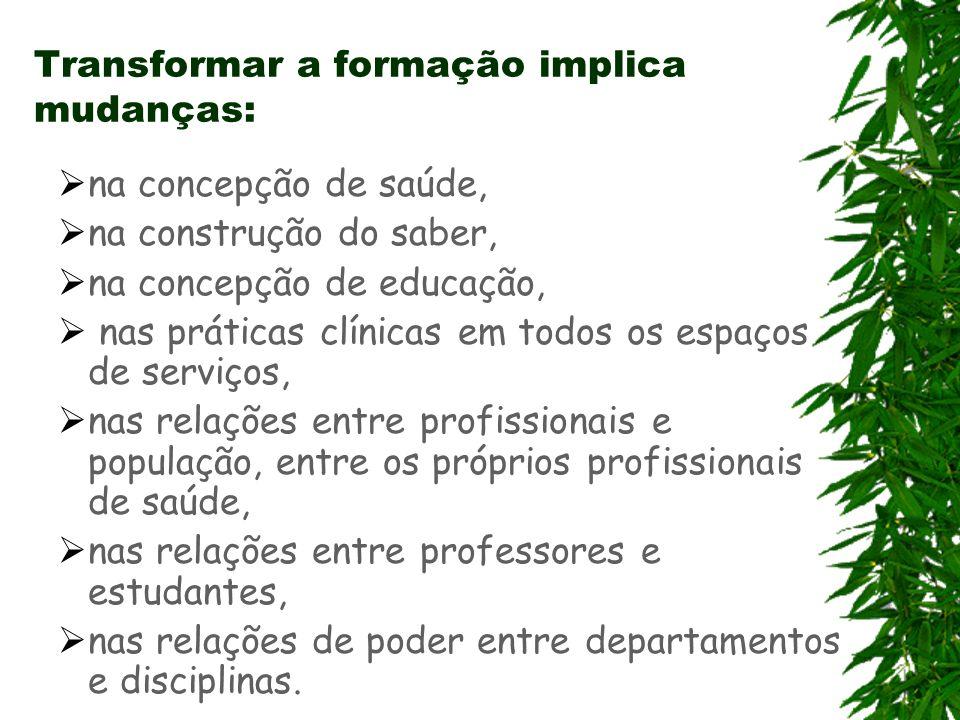 Transformar a formação implica mudanças: na concepção de saúde, na construção do saber, na concepção de educação, nas práticas clínicas em todos os es