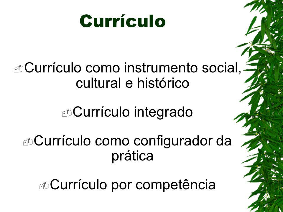 Currículo Currículo como instrumento social, cultural e histórico Currículo integrado Currículo como configurador da prática Currículo por competência