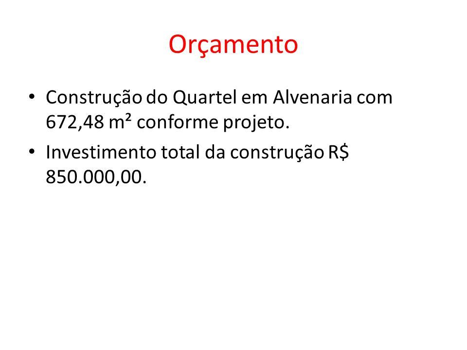 Orçamento Construção do Quartel em Alvenaria com 672,48 m² conforme projeto.