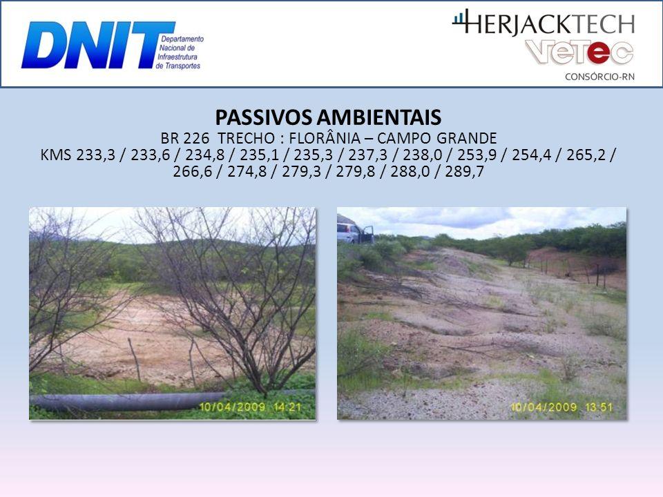 PASSIVOS AMBIENTAIS BR 226 TRECHO : FLORÂNIA – CAMPO GRANDE KMS 233,3 / 233,6 / 234,8 / 235,1 / 235,3 / 237,3 / 238,0 / 253,9 / 254,4 / 265,2 / 266,6