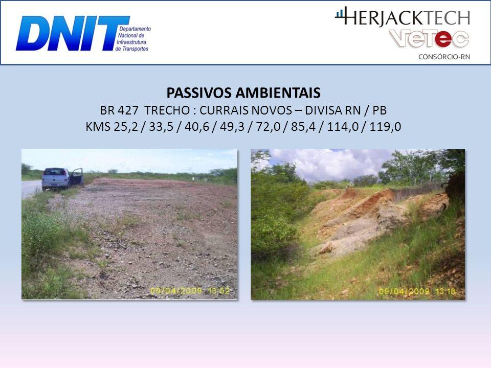 PASSIVOS AMBIENTAIS BR 427 TRECHO : CURRAIS NOVOS – DIVISA RN / PB KMS 25,2 / 33,5 / 40,6 / 49,3 / 72,0 / 85,4 / 114,0 / 119,0