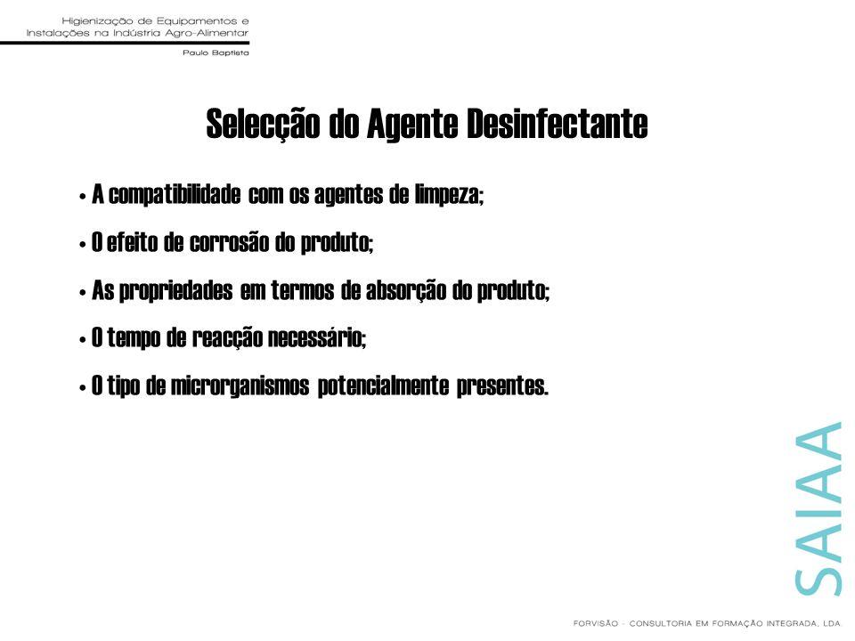 Selecção do Agente Desinfectante A compatibilidade com os agentes de limpeza; O efeito de corrosão do produto; As propriedades em termos de absorção d