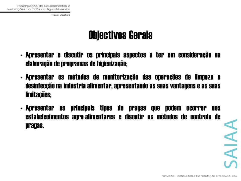 Objectivos Gerais Apresentar e discutir os principais aspectos a ter em consideração na elaboração de programas de higienização; Apresentar os métodos