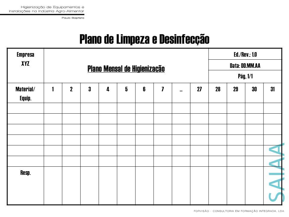 Plano de Limpeza e Desinfecção Empresa XYZ Plano Mensal de Higienização Ed./Rev.: 1.0 Data: DD.MM.AA Pág, 1/1 Material/ Equip. 1234567...2728293031 Re