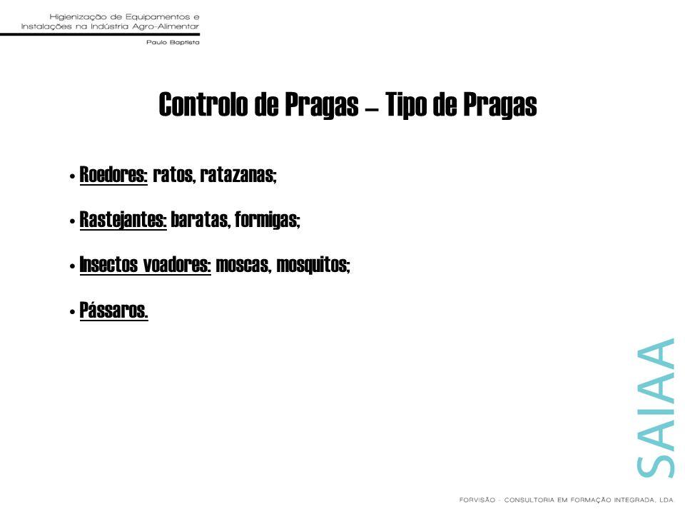Controlo de Pragas – Tipo de Pragas Roedores: ratos, ratazanas; Rastejantes: baratas, formigas; Insectos voadores: moscas, mosquitos; Pássaros.