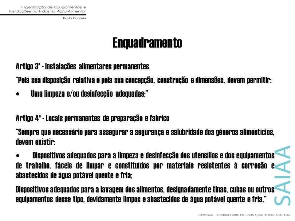 Enquadramento Artigo 3º - Instalações alimentares permanentes Pela sua disposição relativa e pela sua concepção, construção e dimensões, devem permiti