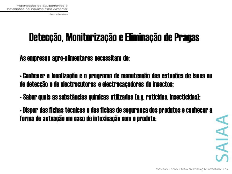 Detecção, Monitorização e Eliminação de Pragas As empresas agro-alimentares necessitam de: Conhecer a localização e o programa de manutenção das estaç