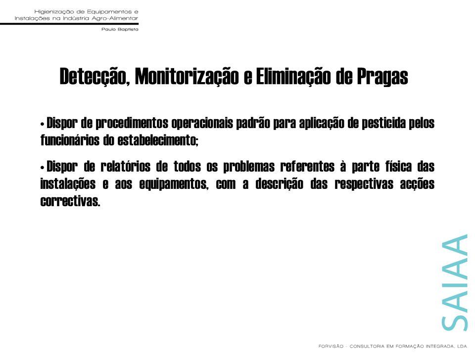 Detecção, Monitorização e Eliminação de Pragas Dispor de procedimentos operacionais padrão para aplicação de pesticida pelos funcionários do estabelec