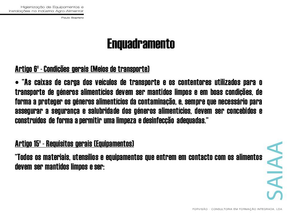 Enquadramento Artigo 6º - Condições gerais (Meios de transporte) As caixas de carga dos veículos de transporte e os contentores utilizados para o tran