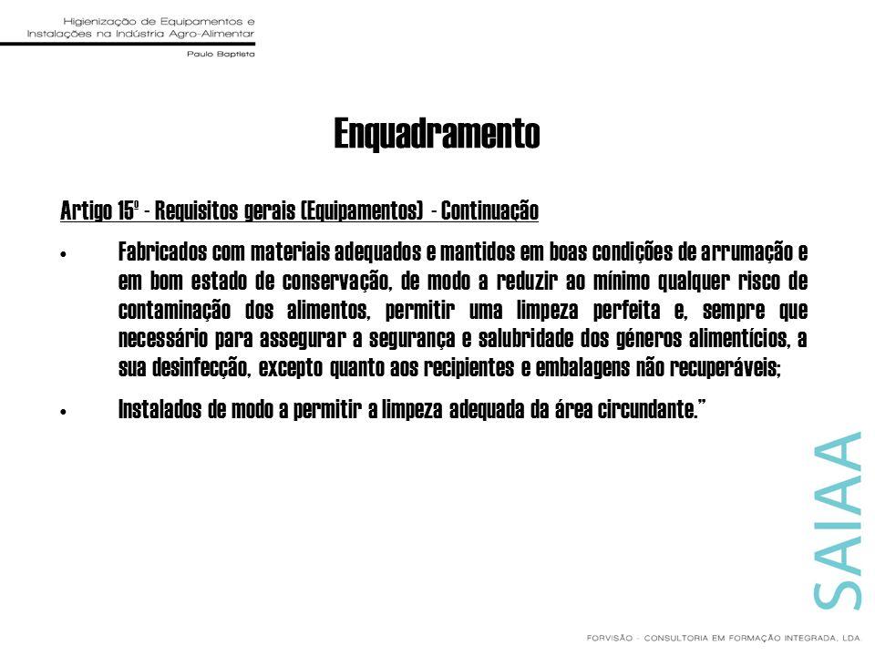 Enquadramento Artigo 15º - Requisitos gerais (Equipamentos) - Continuação Fabricados com materiais adequados e mantidos em boas condições de arrumação