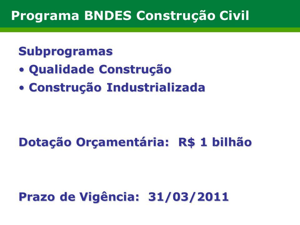Programa BNDES Construção Civil Subprogramas Qualidade Construção Qualidade Construção Construção Industrializada Construção Industrializada Dotação Orçamentária: R$ 1 bilhão Prazo de Vigência: 31/03/2011