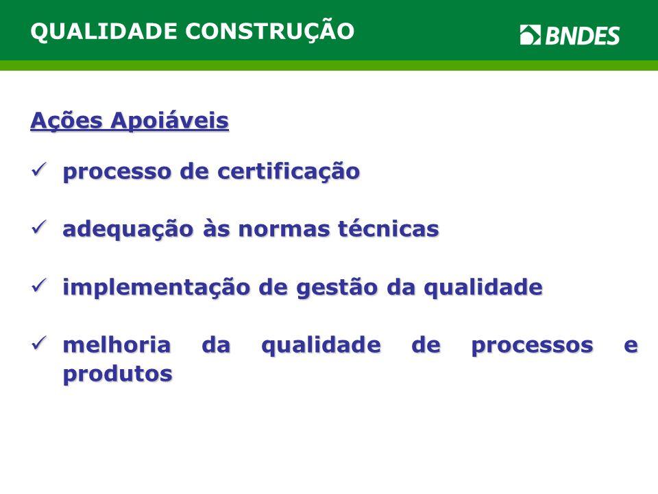 Ações Apoiáveis processo de certificação processo de certificação adequação às normas técnicas adequação às normas técnicas implementação de gestão da qualidade implementação de gestão da qualidade melhoria da qualidade de processos e produtos melhoria da qualidade de processos e produtos QUALIDADE CONSTRUÇÃO