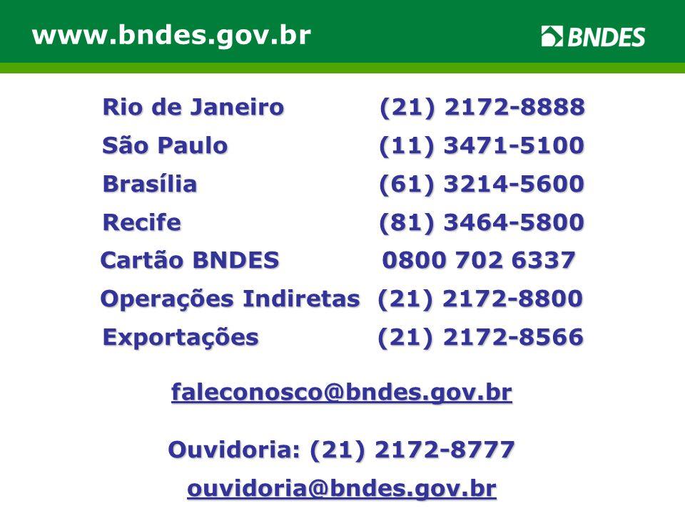 www.bndes.gov.br Rio de Janeiro (21) 2172-8888 São Paulo (11) 3471-5100 Rio de Janeiro (21) 2172-8888 São Paulo (11) 3471-5100 Brasília (61) 3214-5600 Brasília (61) 3214-5600 Recife (81) 3464-5800 Recife (81) 3464-5800 Cartão BNDES 0800 702 6337 Operações Indiretas (21) 2172-8800 Exportações (21) 2172-8566 Exportações (21) 2172-8566faleconosco@bndes.gov.br Ouvidoria: (21) 2172-8777 ouvidoria@bndes.gov.br