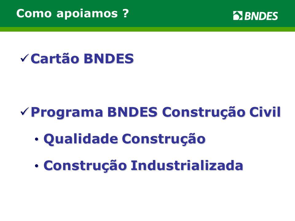Cartão BNDES Credenciamento de empresas de materiais, componentes e sistemas construtivos destinados a obras civis, em conformidade com PSQ/PBQP-H ou certificada por OCP/Inmetro.