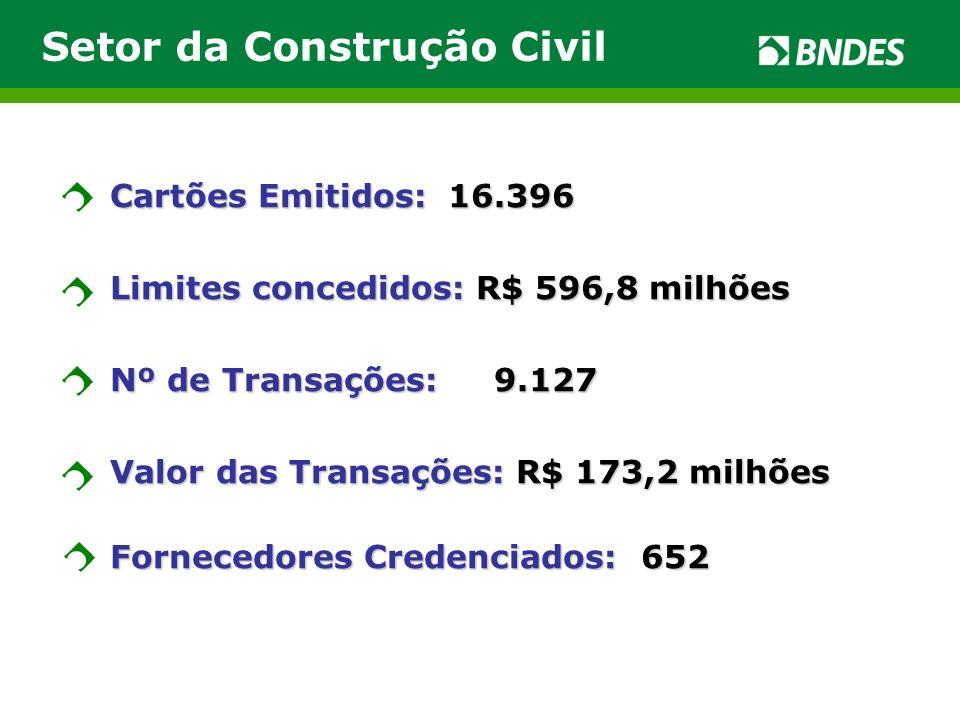 Cartões Emitidos: 16.396 Limites concedidos: R$ 596,8 milhões Nº de Transações: 9.127 Valor das Transações: R$ 173,2 milhões Fornecedores Credenciados: 652 Setor da Construção Civil