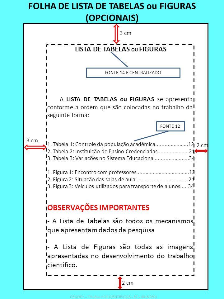 LISTA DE TABELAS OU FIGURAS FONTE 14 E CENTRALIZADO A LISTA DE TABELAS ou FIGURAS se apresenta conforme a ordem que são colocadas no trabalho da segui