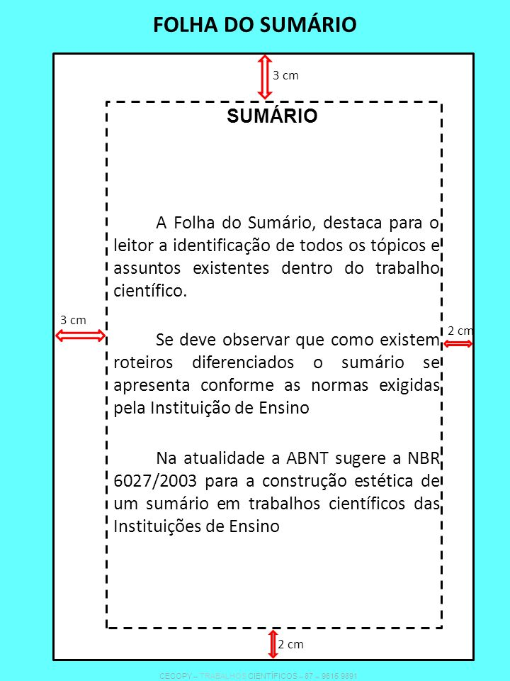 FOLHA DO SUMÁRIO A Folha do Sumário, destaca para o leitor a identificação de todos os tópicos e assuntos existentes dentro do trabalho científico. Se