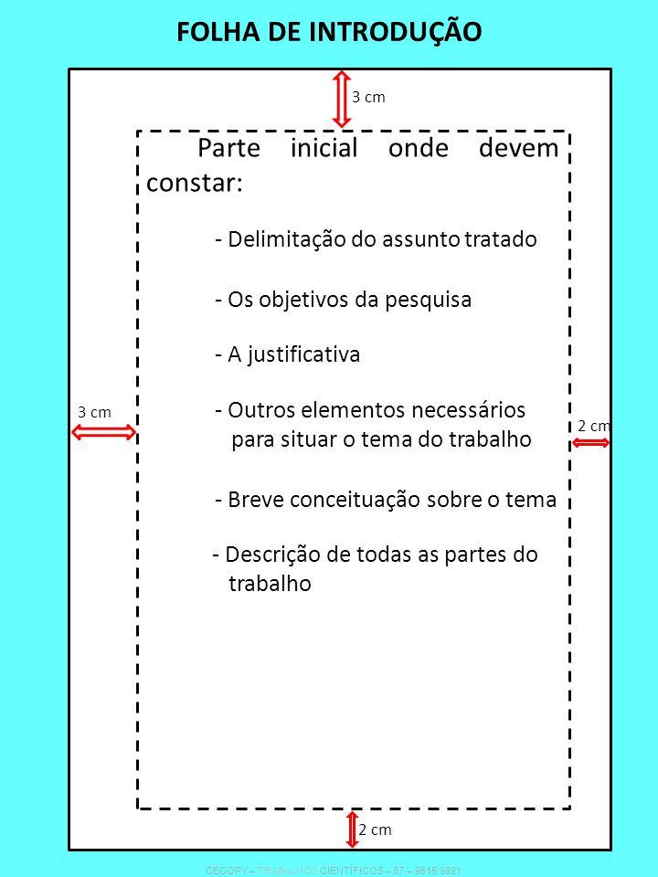 FOLHA DE INTRODUÇÃO Parte inicial onde devem constar: - Delimitação do assunto tratado - Os objetivos da pesquisa - A justificativa - Outros elementos