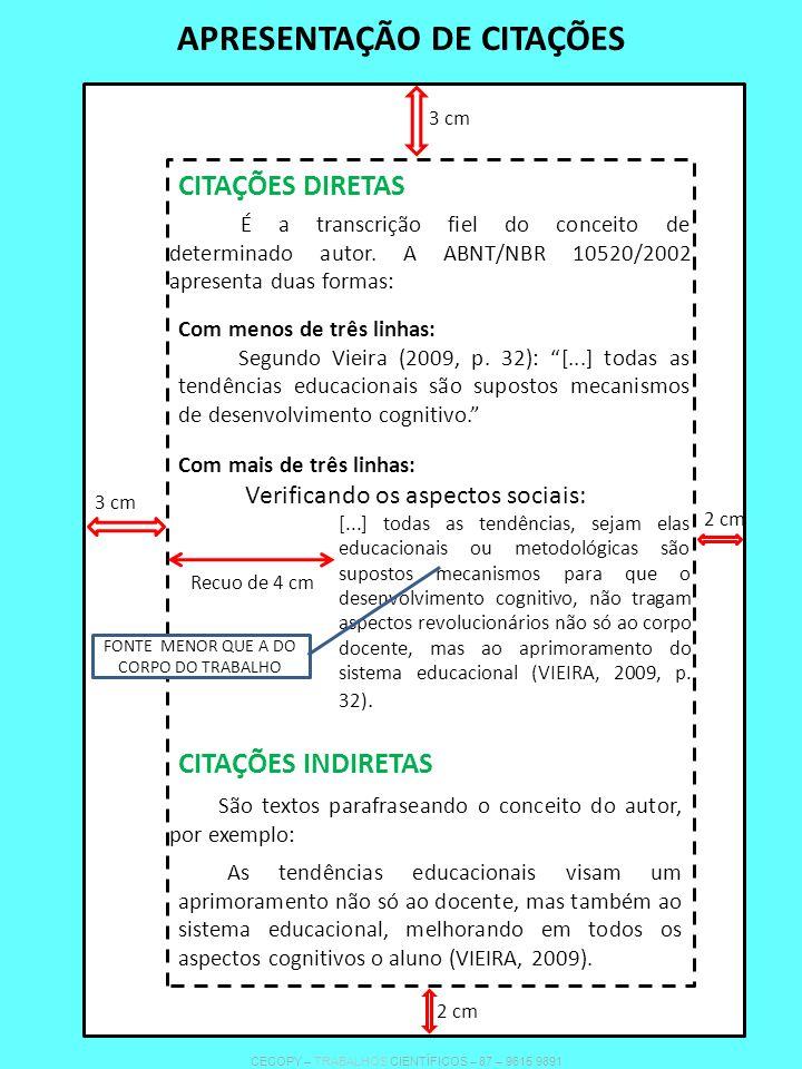 APRESENTAÇÃO DE CITAÇÕES CITAÇÕES DIRETAS CITAÇÕES INDIRETAS É a transcrição fiel do conceito de determinado autor. A ABNT/NBR 10520/2002 apresenta du