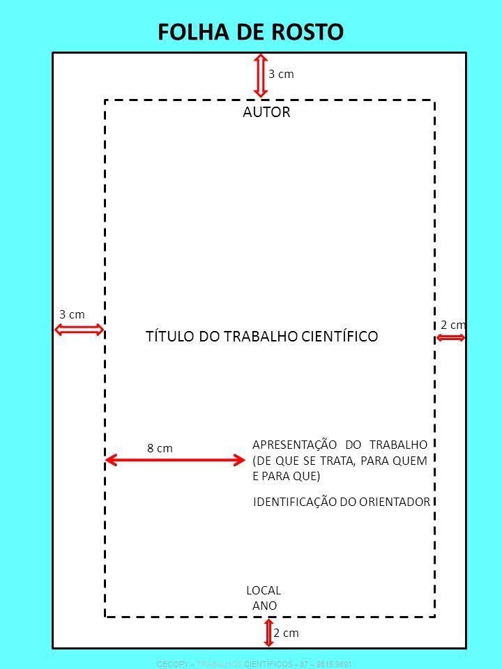 FOLHA DE ROSTO AUTOR TÍTULO DO TRABALHO CIENTÍFICO APRESENTAÇÃO DO TRABALHO (DE QUE SE TRATA, PARA QUEM E PARA QUE) LOCAL ANO IDENTIFICAÇÃO DO ORIENTA